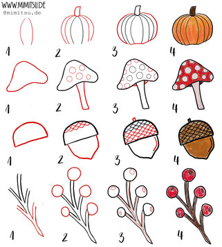 Herbst Fall Doodle Illustration Tutorial Step by Step