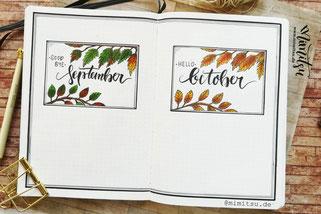 Bullet Journal Bujo Cover Oktober, Bujo October Coverpage Titelseite
