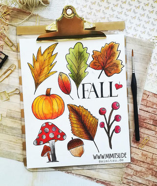 Herbst Doodle Illustration - Tutorial - Fall Autumn Doodles Step by step How to draw