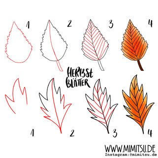 Herbst Fall Doodle Illustration Tutorial Step by Step leaves Blätter