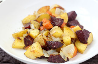 Roasted Garlic-Thyme Root Vegetables (Beets, Carrots, Potatoes, and Onion)