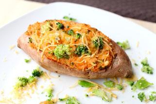 Twice Baked Broccoli Cheese Sweet Potatoes