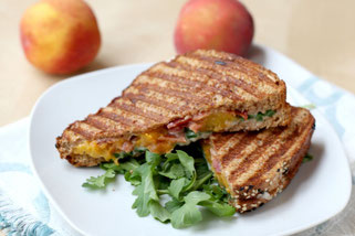 Grilled Peach, Bacon, and Arugula Panini