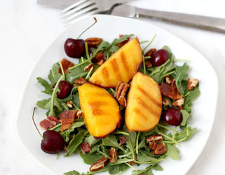 Grilled Peach, Bacon, and Arugula Salad with Pecans and Cherries