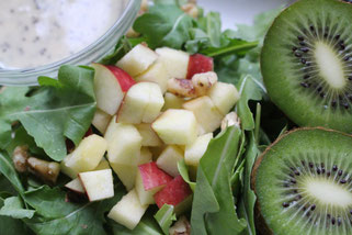 Kiwi, Apple, and, and Arugula Salad with Orange Poppyseed Dressing