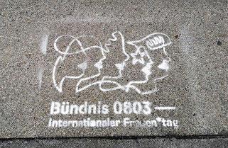 Gehsteig-'Werbung' zum Internationalen Frauentag in Graz. © 2021 Reinhard A. Sudy