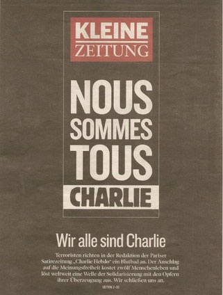 Titelseite der Kleine Zeitung vom 8. Jänner 2015
