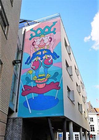In einer Verbindungsgasse zwischen Befferstraat und Varkensstraat, Mechelen:  Graffito *IMAGINE* von Samuel Vanderveken '15. © 2019 Reinhard A. Sudy