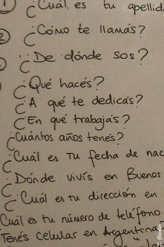 Tafelaufschrieb, Fragen auf Spanisch