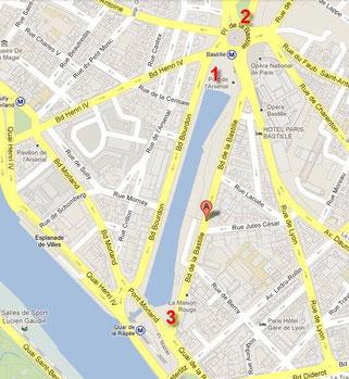 Emplacements pour l'apéro motard FFMC à la Bastille (les vendredis à 21h)