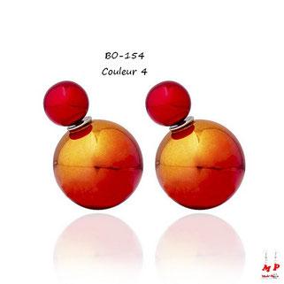 Boucles d'oreilles double perles bicolores jaunes, oranges et rouges