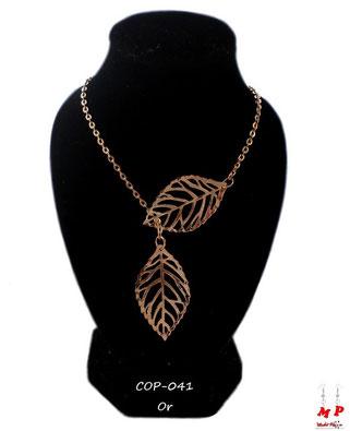 Collier deux feuilles dorées et sa chaine dorée