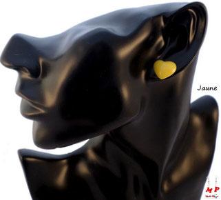 Boucles d'oreilles coeurs jaunes en acrylique