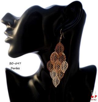 Boucles d'oreilles pendantes multi feuilles dorées