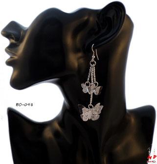 Boucles d'oreilles pendantes papillons argentés