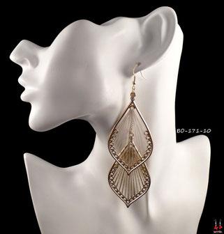 Boucles d'oreilles pendantes doubles gouttes d'eau dorées et fils dorés et blancs