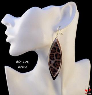 Boucles d'oreilles pendantes brunes ovales léopard