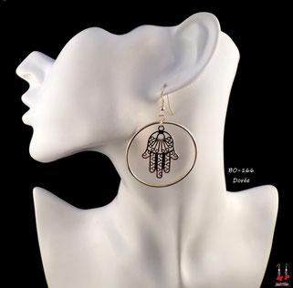 Boucles d'oreilles pendantes créoles rondes et main de Fatma dorée