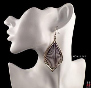 Boucles d'oreilles pendantes gouttes d'eau dorées et fils violets
