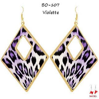 Boucles d'oreilles pendantes losanges léopard violettes
