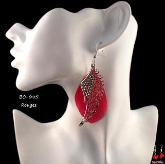 Boucles d'oreilles pendantes plumes rouges et ailes argentées