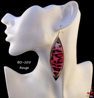 Boucles d'oreilles pendantes léopards ovales rouges et dorées