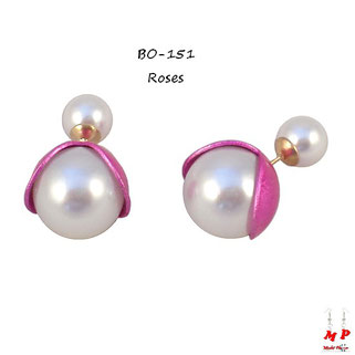 Boucles d'oreilles double perles nacrées fleurs roses