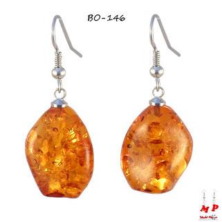Boucles d'oreilles pendantes ambre cognac clair