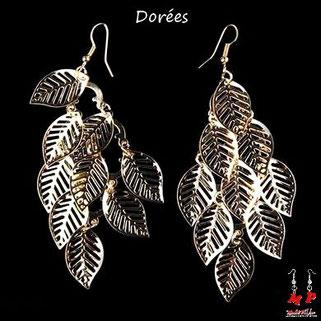 Boucles d'oreilles pendantes multiples feuilles dorées