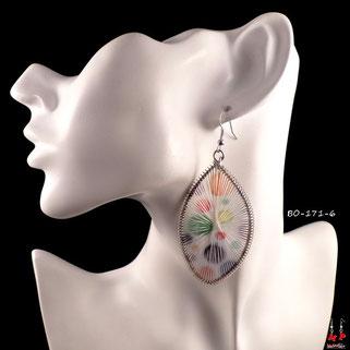 Boucles d'oreilles pendantes argentées et fils blancs avec ronds de couleurs