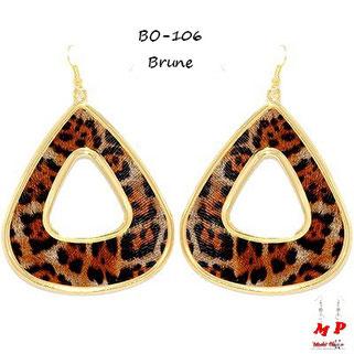Boucles d'oreilles pendantes brunes léopard