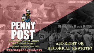 Penny Post newpaper article title graphic with photo of alt-right meeting