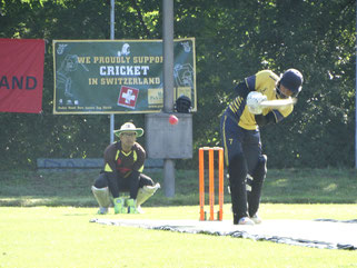 Nomads batting versus Berne in first PT20 semi-final