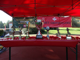 Trophies at Mr Pickwick Twenty20 Finals Day (25.8.2019)