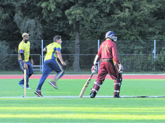 Shafqat (Nomads) bowling against Geneva in PT20 Final