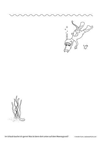 Ausmalbild: Der kleine Drache taucht im Meer