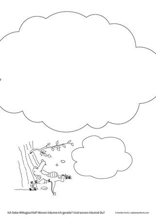 Ausmalbild: Wovon träumt der kleine Drache? wovon träumst Du?