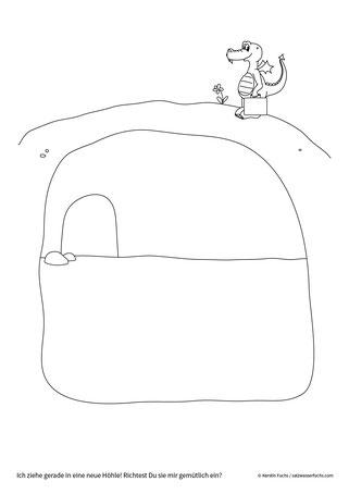 Ausmalbild: Der kleine Drache zieht in eine neue Höhle