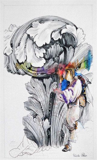 H S Dessin N° 7.Crayon de couleur/papier. 33x19
