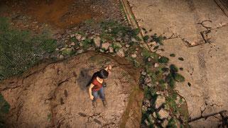 Resultat: Wenige Sekunden später gibt es nasse Fußabdrücke auf dem trockenen Felsen daneben.
