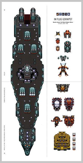 """Auf dieser (hier hochkant abgebildeten) Doppelseite aus unserem kommenden """"Mega Drive PIXELBUCH"""" illustrieren wir verschiedene Boss-Gegner"""