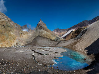 Crater of the active volcano Mutnovsky