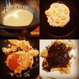 Die veganen Bananen-Pancakes sind flott und einfach zubereitet und eine tolle Alternative zu normalen Crêpes. (Das Bild rechts unten zeigt meine Portion mit Schokolade als Topping. Klar, dass es die nicht für Junior gibt.)