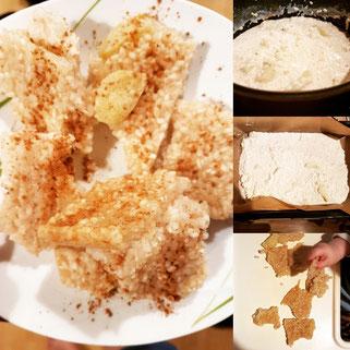 Von der Zubereitung bis zum köstlichen Ergeebnis dauerte es bei den Milchreisschnitten nicht lang. (Großes Foto zeigt meine Portion mit extra viel Zimt, den es für das Baby in dieser Menge nicht gibt.)