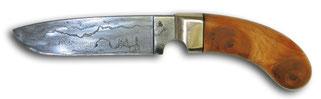 Jagdmesser Pfauenauge, Damast, Heft Zypresse