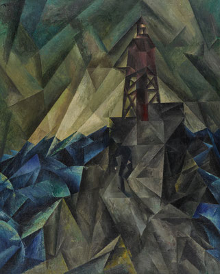 Lyonel Feiniger, Leuchtbake I, um 1913, Öl auf Leinwand 105 x 81cm, VG Bild Kunst, Bonn 2019