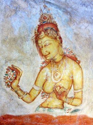 Sigiriya royal ladies in the frescoes
