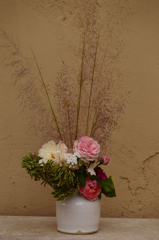 in a vase on monday, monday vase, rose, english rose, david austin, amy myers, photography, small sunny garden, desert garden, james galway, the alnwick rose, the generous gardener, muhlenbergia, regal mist