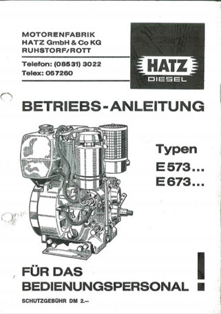 Betriebsanleitung Hatz E573, E673