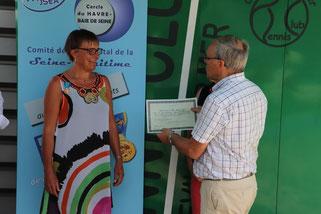Remise du diplôme par Max COQUIN, président du comité départemental de tennis, et membre du bureau du comité départemental des médaillés de la jeunesse, des sports et de l'engagement associatif.